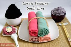 Cerruti Pashmina with sushi line idea and ice cream cup idea, for sale IDR 35000, special offer IDR 100000 for 4 pashminas