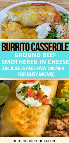 Ground Beef Burritos, Smothered Beef Burritos, Quick Summer Meals, Quick Easy Meals, Easy Dinners, Ground Beef Recipes Mexican, Mexican Food Recipes, Easy Delicious Recipes, Healthy Dinner Recipes