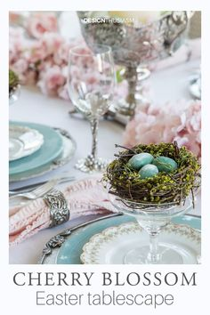 Cherry Blossom Branch Tablescape Easter Table Settings, Easter Colors, Pink Blossom, Cherry Blossoms, Easter Brunch, Easter Subday, Easter Food, Easter Party, Easter Gift
