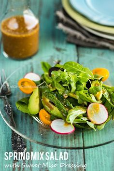 Spring Mix Salad with Sweet Miso Dressing | Easy Japanese Recipes at JustOneCookbook.com