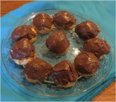 Chocolate cream puffs or eclairs. Easy peasy