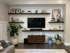 Living Room Shelves, New Living Room, Living Room Ideas Tv Wall, Tv Wall Shelves, Dining Room Floating Shelves, Tv Shelving, Walnut Floating Shelves, Shelves Around Tv, Floating Shelves Entertainment Center