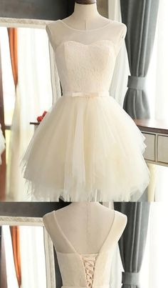 On Sale Ivory Homecoming Dresses, Short Prom Dresses, Short Ivory Prom Dresses With Bandage Mini Round Sale Online #homecomingdresses #promdresses #miniprom