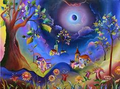 Pinturas mágicas - Arte con significado y mensajes ocultos - Taringa! Art And Illustration, Cottage Art, Good Night Moon, Primitive Folk Art, All Nature, Naive Art, Whimsical Art, Beautiful Butterflies, Colorful Pictures