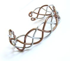 Celtic Braid Bracelet - Two Tone Silver and Bronze Aluminum Cuff - Wire Wrapped Weave (22.00 USD) by FantasiaElegance