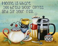 Home Is Where You Brew Your Coffee And Sip Your Tea Art Print. Home Is Where You Brew Your Coffee And by studiopetiteArt Print. Home Is Where You Brew Your Coffee And by studiopetite Coffee Tasting, Coffee Drinks, Coffee Cups, Tea Cups, Smoothies Coffee, Coffee Coffee, Ninja Coffee, Coffee Life, Coffee Shop