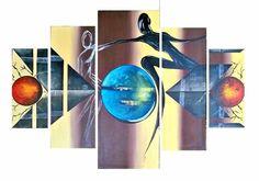 Cuadros abstractos modernos minimalistas , cinco lienzos.