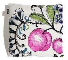 Fun and fruity throw pillow imported from Finland. Ikea Fabric, Clutter Free Home, Modern Throw Pillows, Wooden House, Pink Peonies, Beautiful Lights, Main Colors, Soft Furnishings, Throw Pillow Covers
