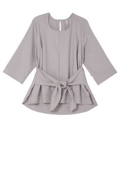 An integrated tie-front design cinches the waist of this woven top, creating a cool peplum effect. The scoopneck style features loose-fitting sleeves, split side seams, and a keyhole at the back. The result is modern, sophisticated, and so very chic! #fashion #style