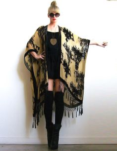 Beautiful black and cream colored velvet kimono from Girl on a Vine.