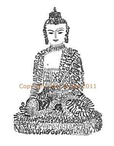 Buddha Siddhartha Gautma Calligraphy Calligram Drawing, Spiritual Buddha Typography Word Art Pen and Ink Illustration 8x10 Matted Print. $19.50, via Etsy.
