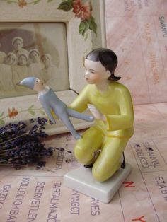Vintage Hungarian Dracshe porcelain  figurine,little girl with doll,stamped,handpainted by VintageMarketArt on Etsy
