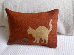 hand printed hessian cats cushion by helkatdesign on Etsy, $64.00