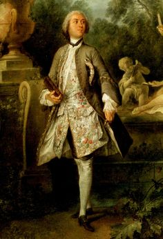 Nicolas Lancret: Detail from Portrait of the Actor Grandval, 1742. What beautiful brocade.