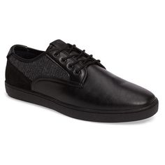 Men's Aldo Lareawet Lace-Up Sneaker ($75) ❤ liked on Polyvore featuring men's fashion, men's shoes, men's sneakers, black leather, mens black shoes, aldo mens sneakers, mens low tops, mens woven shoes and mens lace up shoes
