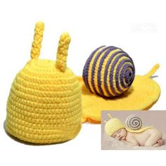 NeedyBee Yellow and Purple Snail Crochet Photo Prop Dress Up Set