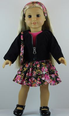 "18/"" doll clothes-fits American Girl Generation My Life-Dress-Chevron w//Dots"