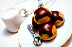 Miniature Food Jewelry: Milk Mug and Chocolate Cream Puff - Profiteroles Necklace    Today's special is Profiteroles.  They are my favourite desser...