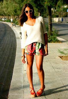 Wedges. Floral Shorts. Jumper