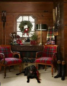 Nothing better than wood and flannel. Except the adorable lab in the flannel scarf.