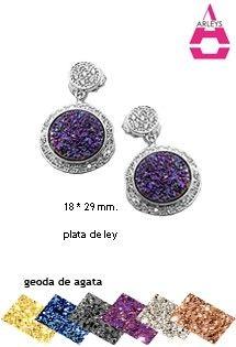 Pendiente de plata con ágata de la firma de joyería Arleys Jewelry, con piedra de drusa sobre la superficie. Disponible en 6 colores de geoda drusa.