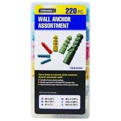 220 Piece Wall Anchor Assortment by Storehouse. $19.95. This anchor set is perfect for mounting a wide variety of objects in drywall and other surfaces where simple fasteners are impractical. This set includes six sizes of sturdy polyethylene wall anchors. Simply drill a hole the same size as your wall anchor, push the anchor in and insert a screw into the anchor! ?Six sizes of high strength polyethylene anchors ?Organized storage case Screws sold separately.  Sizes: 5 pie...