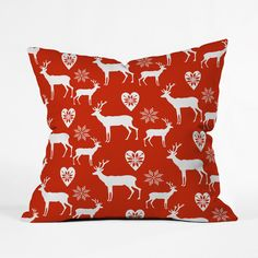 Dress up your sofa for the season with this splashy, soft cushion. White deer and retro sweater snowflake designs pop against a holly-red background. Choose either pillow with insert or cover only.  Find the Deer Memories Pillow, as seen in the Have a Very Scandinavian Christmas Collection at http://dotandbo.com/collections/scandinavian-christmas?utm_source=pinterest&utm_medium=organic&db_sku=97564