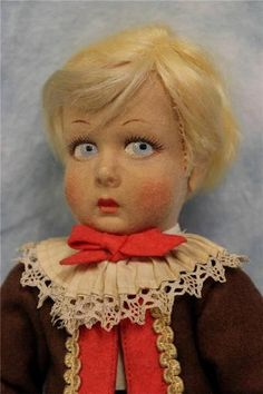 """11"""" Antique LENCI BOY Italy c1930 CASTELROTO All-Original with Painted Heart TAG"""