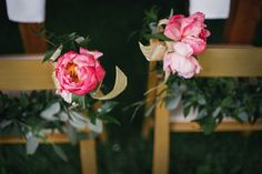 Stock photo of Floral garland on chairs at wedding by jesscraven Floral Garland, Decoration, Wreaths, Air, Rose, Flowers, Wedding, Altar, Benches