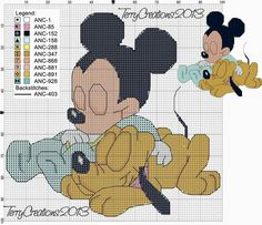 Pluto Mickey, Mickey Y Minnie, Mickey Mouse Characters, Mickey Mouse And Friends, Graph Crochet, Crochet Diagram, Cross Stitch Baby, Cross Stitch Charts, Stitch Disney