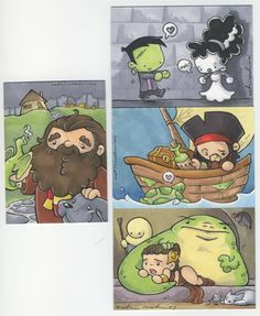 potter, jabba and pirate cards by ~katiecandraw on deviantART