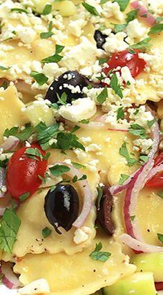 Greek Ravioli Salad