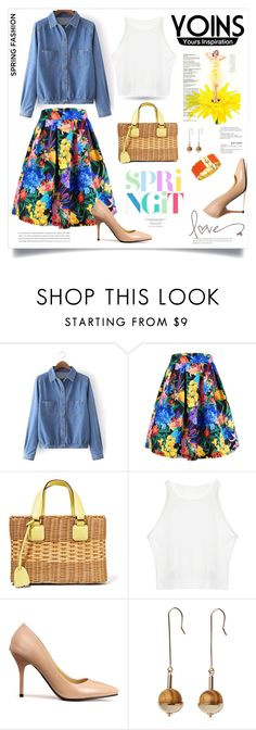 """""""Yoins Contest-Amazing Floral Print Skirt"""" by monica-dick ❤ liked on Polyvore featuring Mark Cross, Monki, Tory Burch and yoins"""