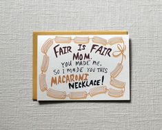 Funny Mother's Day cards: Macaroni Necklace Card from One Sharpened Pencil