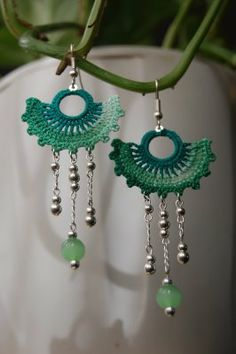 Green Fan Crochet Earrings ~ Inspiration!