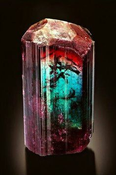 Tourmaline are famous for multiple colors in a single gemstone including this unique crystal from Barra de Salinas Coronel Murta Jequitinhonha Valley Minas Gerais Brazil Minerals And Gemstones, Rocks And Minerals, Caillou Roche, Rock Collection, Beautiful Rocks, Mineral Stone, Rocks And Gems, Stones And Crystals, Gem Stones