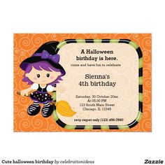 #zazzle Sold this  #halloween #cute #kids #birthday #invitations to New Zealand. Thanks for you who purchased this. Check more at www.zazzle.com/celebrationideas/halloween+birthday