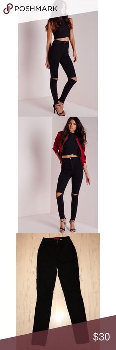 Black ripped skinny Jean High waisted black skinny jean with ripped knee. Size 5 or 26 waist AKIRA Jeans Skinny