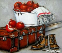✿Basket fruits & Vegetables✿ Stella Bruwer white enamel tub white towel with red stripe suitcase boots pomegranates Decoupage Vintage, Decoupage Paper, Vintage Art, Decoupage Suitcase, Stella Art, Still Life Pictures, South African Artists, Still Life Art, Country Art