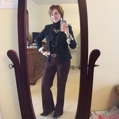 Not often I can say this but this day was all #anntaylor for my #ootd. Pants from #loft in a delicious plum color, and top and jacket from AT in navy. Brown belt and shoes because it is POSSIBLE to wear plum without leopard print (but that is my go-to). #SilpadaStyle jewelry played up both colors but the Red Rocks necklace was the key feature. #fashion #Jewelry #fallfashion #fashionover40 #officechic #whatiwore #womeninbusiness
