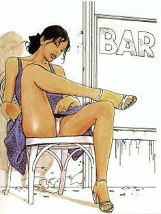 "Blue dress and white chair - Art by Milo Manara - Board ""Art - Milo Manara"" - Adult Cartoons, Sexy Cartoons, Manara Milo, Black Artwork, Bmw, Gay Art, Comic Artist, Female Characters, Disney Characters"