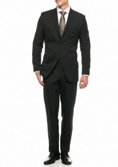 G  Norman Collection Black Modern-Fit Stretch 2-Piece Suit