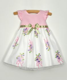 Look at this Pink Floral Garland Angel-Sleeve Dress - Infant on #zulily today!