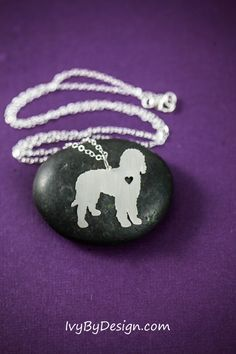 Labradoodle/Goldendoodle breed necklace in sterling silver with personalized engraving option by IvyByDesign on Etsy.  Love this necklace - show how
