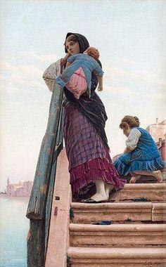 Luigi da Rios (1844 – 1892, Italian) - Mother With Children - Scene From Venice