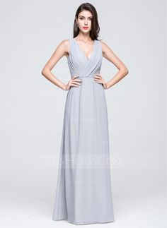 A-Line/Princess V-neck Floor-Length Ruffle Zipper Up Regular Straps Sleeveless No Other Colors Spring Summer General Plus Chiffon Height:5.7ft Bust:32in Waist:23in Hips:34in US 2 / UK 6 / EU 32 Bridesmaid Dress