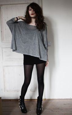 Simple and I love it.  Oversized tshirt with black mini and tights x