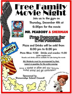 school movie night poster - Google Search