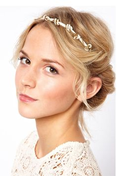 10 Embellished Headbands That Can Beautify Your Bedhead #refinery29  http://www.refinery29.com/tiaras#slide5  Made Cord And Chain Knot Head Band, $58.19, available at ASOS.