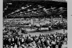 Flying Fortress number 5000 comes off the assembly line inside the Boeing Seattle Plant